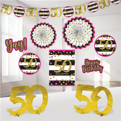 50th Pink & Gold Milestone Decorating Kit