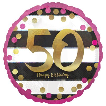 "50th Pink & Gold Milestone Balloon - 18"" Foil"