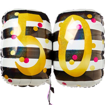 "50th Pink & Gold Milestone Supershape Balloon - 30"" Foil"