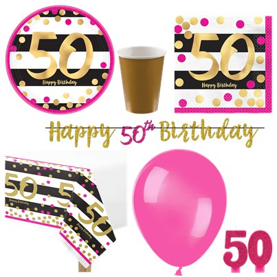 50th Pink & Gold Party Pack - Deluxe Kit for 8