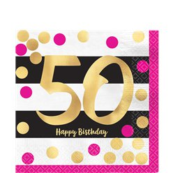 50th Pink & Gold Milestone Paper Napkins
