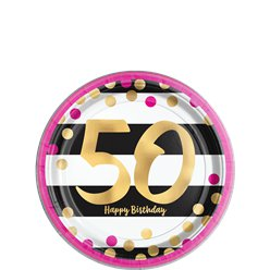 50th Pink & Gold Milestone Paper Plates - 18cm