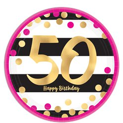 50th Pink & Gold Milestone Paper Plates - 23cm