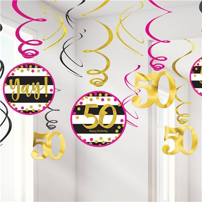 50th Pink & Gold Milestone Hanging Swirls