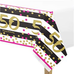 50th Pink & Gold Milestone Plastic Tablecover - 1.37m x 2.59m
