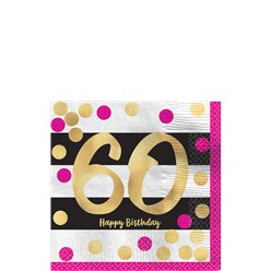 60th Pink & Gold Milestone Paper Cocktail Napkins - 25cm