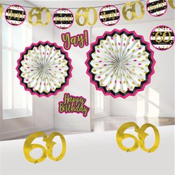 60th Pink & Gold Milestone Decorating Kit