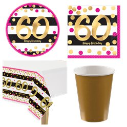 60th Pink & Gold Party Pack - Value Kit for 8