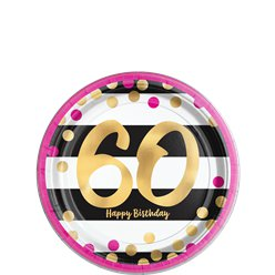 60th Pink & Gold Milestone Paper Plates - 18cm