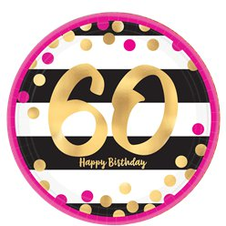 60th Pink & Gold Milestone Paper Plates - 23cm
