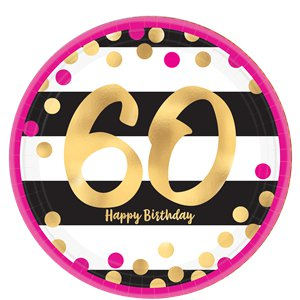 60th Pink Gold Party Pack - Deluxe Kit for 16