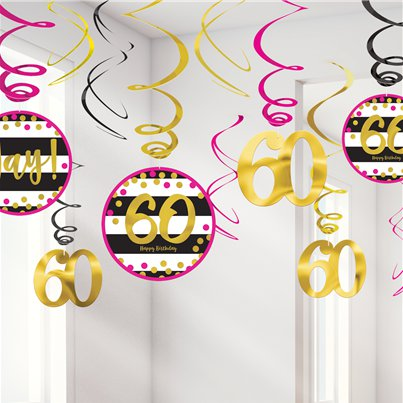 60th Pink & Gold Milestone Hanging Swirls