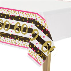 60th Pink & Gold Milestone Plastic Tablecover -1.37m x 2.59m