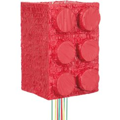 Lego Party Red Building Block 3D Pull Pinata