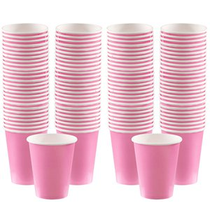 Baby Pink Coffee Cups - 340ml Paper Cups