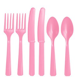 Baby Pink Reusable Plastic Cutlery - Assorted 24pk