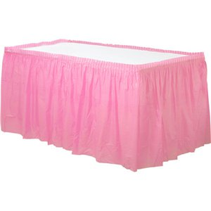 Baby Pink Plastic Tableskirt - 73cm x 4.2m