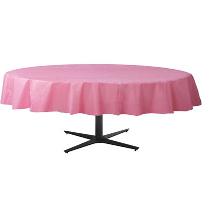 Baby Pink Round Tablecover - Plastic - 2.1m