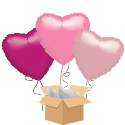 Pink Hearts Balloon Bouquet - Delivered Inflated