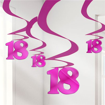 18th Birthday Pink Hanging Swirl Decorations - 61cm