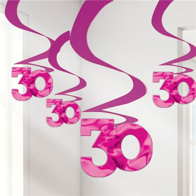 30th Pink Hanging Swirls - 61cm