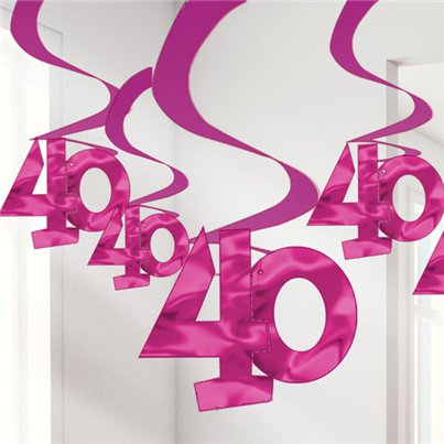40th Pink Hanging Swirls