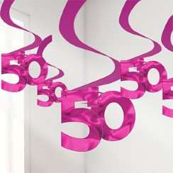 50th Pink Hanging Swirls