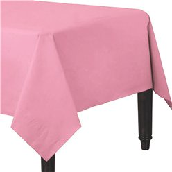 Baby Pink Plastic Lined Paper Tablecover - 1.4m x 2.8m