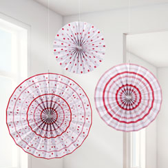 Pink n Mix Paper Fan Decorations - 35cm