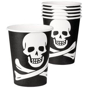 Skull & Crossbones Party Cups - 250ml Paper Cups
