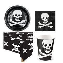 Skull & Crossbones Pirate Party Pack - Value Pack for 6