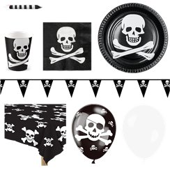 Skull & Crossbones Pirate Party Pack - Deluxe Pack for 12