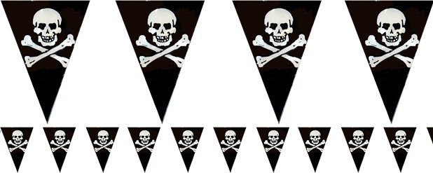 Pirate Flag Plastic Bunting - 3.6m