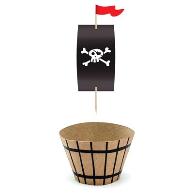 Pirate 'Flag and Barrel' Cupcake Cases and Picks