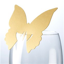 Butterfly Place Cards for Glasses - Gold