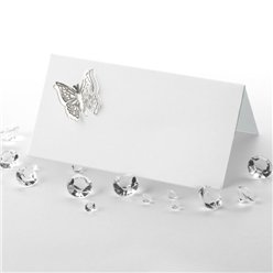 Elegant Butterfly 3D Wedding Place Cards - Silver