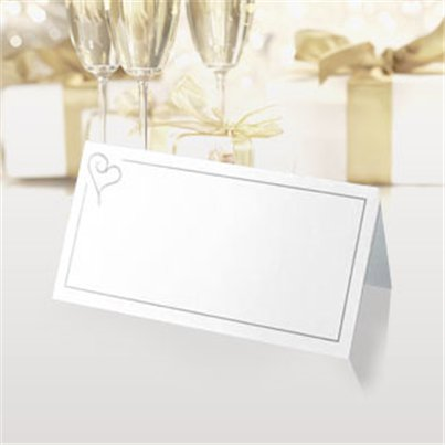 Contemporary Heart Wedding Place Cards - Silver