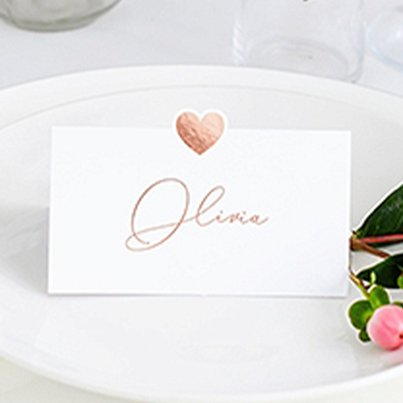 Place Cards Rose Gold Heart Wedding Place Cards
