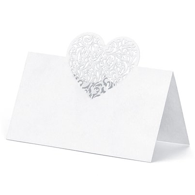 White Laser Heart Place Cards
