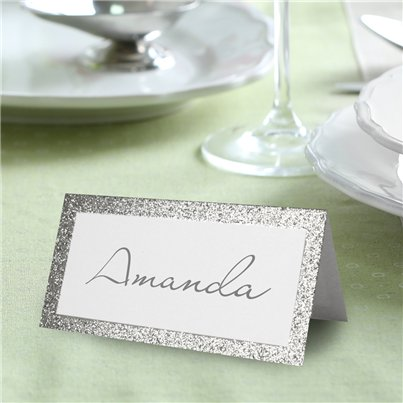 Silver Glitter Place Cards