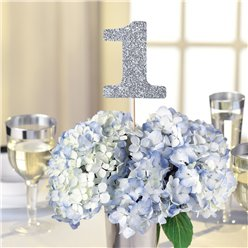 Silver Glitter Table Number Picks