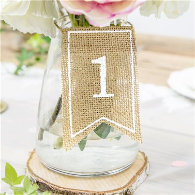 Rustic Hessian Table Numbers - 1-20