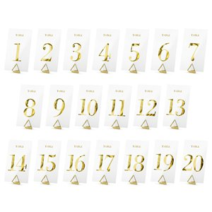 Transparent Gold Table Numbers - 1-20