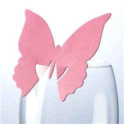 Butterfly Place Cards for Glasses - Hot Pink
