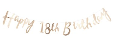 Pick & Mix Happy 18th Birthday Gold Letter Bunting - 1.5m