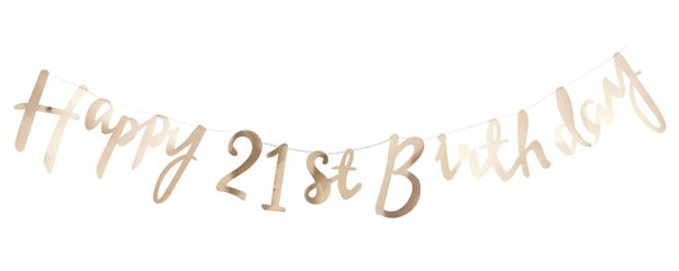 Pick & Mix Happy 21st Birthday Gold Letter Banner - 1.5m