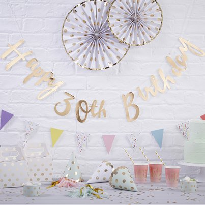 Pick & Mix Happy 30th Birthday Gold Letter Bunting - 1.5m