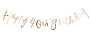 Pick & Mix Happy 40th Birthday Gold Letter Bunting - 1.5m