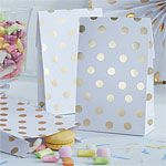 Pick & Mix White Metallic Polka Dot Paper Party Bags - 19cm