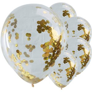 Pick & Mix Gold Confetti Balloons - 12